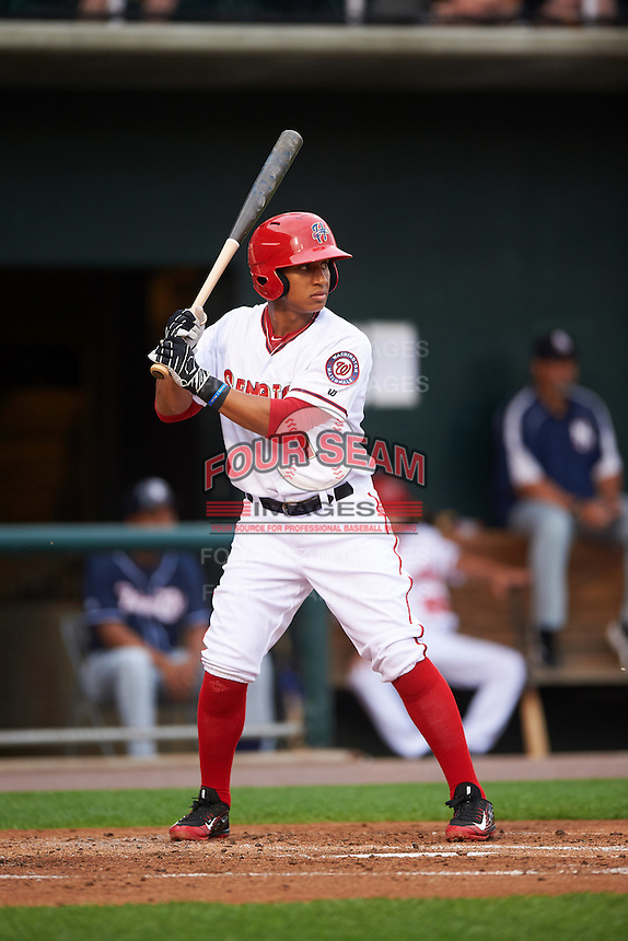 Harrisburg Senators second baseman Chris Bostick (1) at bat during a game against the New Hampshire Fisher Cats on June 2, 2016 at FNB Field in Harrisburg, Pennsylvania.  New Hampshire defeated Harrisburg 2-1.  (Mike Janes/Four Seam Images)