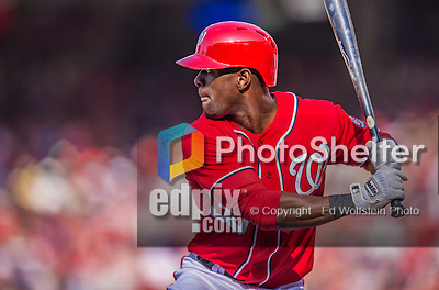 8 June 2013: Washington Nationals outfielder Roger Bernadina in action against the Minnesota Twins at Nationals Park in Washington, DC. The Twins edged out the Nationals 4-3 in 11 innings. Mandatory Credit: Ed Wolfstein Photo *** RAW (NEF) Image File Available ***