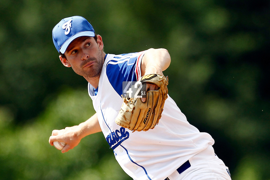 23 June 2011: Alexandre Martin of Team France pitches against USSSA during USSSA 5-3 win over France, at the 2011 Prague Baseball Week, in Prague, Czech Republic.