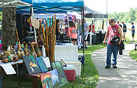 NWA Democrat-Gazette/BEN GOFF @NWABENGOFF<br /> Guests visit craft vendors Thursday, July 4, 2019, during the 125th annual Gentry Freedom Fest at Gentry City Park.
