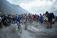 maglia azzurra Giovanni Visconti (ITA/Movistar) isn't riding that strong up the dirt roads of the Colle delle Finestre (2178m)<br /> <br /> Giro d'Italia 2015<br /> stage 20: Saint Vincent - Sestriere (199km)