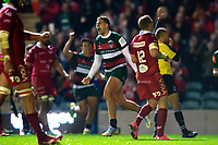 Jonny May of Leicester Tigers celebrates his second half try. Heineken Champions Cup match, between Leicester Tigers and the Scarlets on October 19, 2018 at Welford Road in Leicester, England. Photo by: Patrick Khachfe / JMP