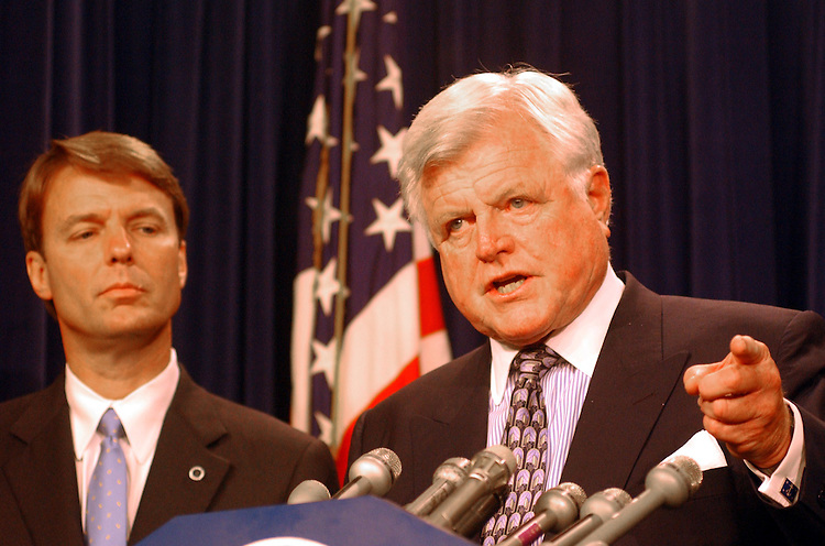 1pbr080201 - Sens. Ted Kennedy, D-Mass., and John Edwards, D-N.C., appear at the Senate Studio Thursday afternoon to discuss Patient's Bill of Rights.