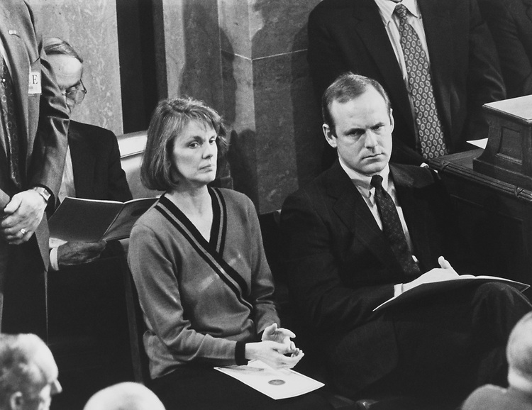 Senate and House Sergeants-at-Arms Martha Pope and Jack Russ at State of the Union Address on Jan. 29, 1991. (Photo by Maureen Keating/CQ Roll Call via Getty Images)