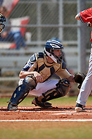 Mount St. Mary's Mountaineers catcher Zack Costello (18) during a game against the Ball State Cardinals on March 9, 2019 at North Charlotte Regional Park in Port Charlotte, Florida.  Ball State defeated Mount St. Mary's 12-9.  (Mike Janes/Four Seam Images)