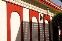 Shadows on the facade of a nineteenth century building in old Mazatlan, Sinaloa, Mexico