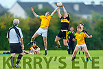 Dr Crokes Michael Milner and John Mitchells Conor Hurley jump for possession in the Molyneaux Cup Final on Saturday in Castleisland.