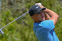Cameron Champ (USA) watches his tee shot on 1 during Round 1 of the Valero Texas Open, AT&amp;T Oaks Course, TPC San Antonio, San Antonio, Texas, USA. 4/19/2018.<br /> Picture: Golffile | Ken Murray<br /> <br /> <br /> All photo usage must carry mandatory copyright credit (&copy; Golffile | Ken Murray)