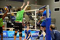 GRONINGEN - Volleybal, Abiant Lycurgus - SSS, Alfa College , Eredivisie , seizoen 2017-2018, 02-12-2017 Lycurgus speler Trifon Lapkov slaat de bal langs SSS speler Michiel van de Beek