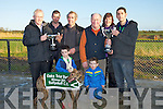 "WINNERS; Winner of the National Breeders Oaks Trials Stake, & Tom O'Sullivan Memorial Cup & John O'Connor Trophy, was ""Misty Herris""  been presented with the cups at Ballyduff Coursing on Saturday. Front Michael and Jack Houlihan (jnrs). Back l-r: Gerry O'Sullivan(presenting the Oak Trial Stake Cup), Michael and John Houlihan, John O'Connor, Mairead and William Houlihan........"