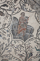 Roman mosaic of Orpheus with his lyre, from the centre of Orpheus surrounded by animals, at the House of Orpheus, Volubilis, Northern Morocco. Volubilis was founded in the 3rd century BC by the Phoenicians and was a Roman settlement from the 1st century AD. Volubilis was a thriving Roman olive growing town until 280 AD and was settled until the 11th century. The buildings were largely destroyed by an earthquake in the 18th century and have since been excavated and partly restored. Volubilis was listed as a UNESCO World Heritage Site in 1997. Picture by Manuel Cohen
