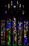Stained glass window in church of Saint Margaret of Antioch, Leigh Delamere, Wiltshire, England, UK by Wilmshurst 1847 Crucifixion