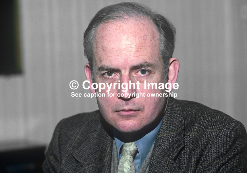 John Robb, surgeon, Route Hospital, Ballymoney, Co Antrim, N Ireland, founder of the New Ireland Group, Rep of Ireland senator for almost ten years.  19820100005JR2.<br /> <br /> Copyright Image from Victor Patterson, 54 Dorchester Park, Belfast, UK, BT9 6RJ<br /> <br /> t1: +44 28 9066 1296 (from Rep of Ireland 048 9066 1296)<br /> t2: +44 28 9002 2446 (from Rep of Ireland 048 9002 2446)<br /> m: +44 7802 353836<br /> <br /> e1: victorpatterson@me.com<br /> e2: victorpatterson@gmail.com<br /> <br /> The use of my copyright images is subject to my Terms &amp; Conditions.<br /> <br /> It is IMPORTANT that you familiarise yourself with them. They are available on my website at www.victorpatterson.com.<br /> <br /> None of my copyright images may be used on a website unless they are visibly watermarked, i.e. &copy; Victor Patterson within the body of the visible image. Metadata denoting my copyright must NOT be deleted. <br /> <br /> Web use is extra at currently recommended NUJ rates.