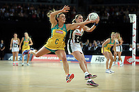 27.08.2016 South Africa's Izette Lubbe and Australia's Liz Watson in action during the Netball Quad Series match between South Africa and Australia at Vector Arena in Auckland. Mandatory Photo Credit ©Michael Bradley.