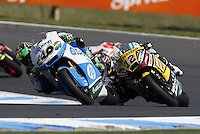 Pons Kalex Moto2 rider Pol Espargaro of Spain leads during the Australian Motorcycle GP in Phillip Island, Oct 20, 2013. Photo by Daniel Munoz/VIEWpress IMAGE RESTRICTED TO EDITORIAL USE ONLY- STRICTLY NO COMMERCIAL USE.
