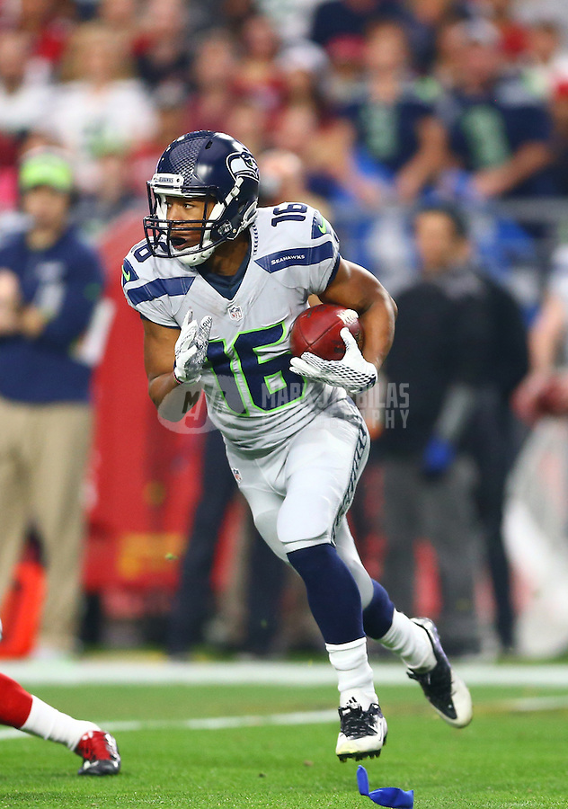 Jan 3, 2016; Glendale, AZ, USA; Seattle Seahawks wide receiver Tyler Lockett (16) against the Arizona Cardinals at University of Phoenix Stadium. Mandatory Credit: Mark J. Rebilas-USA TODAY Sports
