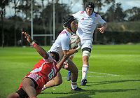 Kaleb Talamahina steps inside Maamaloa Tupou to score during the international rugby match between  New Zealand Schools Barbarians and Tonga Schools at the Sport and Rugby Institute in Palmerston North, New Zealand on Thursday, 28 September 2017. Photo: Dave Lintott / lintottphoto.co.nz