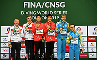 Men's 3m Synchro Springboard medallists  Oleksandr Gorshkovozov, Oleg Kolodiy  (bronze), Evgenii Kuznetsov, Nikita Shleikher (silver), Luxian Wu, Zongyuan Wang (gold)<br /> <br /> Photographer Hannah Fountain/CameraSport<br /> <br /> FINA/CNSG Diving World Series 2019 - Day 1 - Friday 17th May 2019 - London Aquatics Centre - Queen Elizabeth Olympic Park - London<br /> <br /> World Copyright © 2019 CameraSport. All rights reserved. 43 Linden Ave. Countesthorpe. Leicester. England. LE8 5PG - Tel: +44 (0) 116 277 4147 - admin@camerasport.com - www.camerasport.com