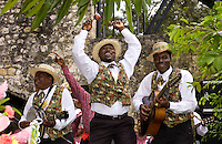 Musicians in panama hats and waistcoats at cultural display at Governor General's Residence, Kings House, Kingston, Jamaica