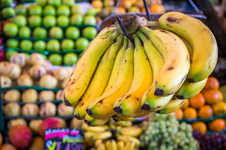AREQUIPA, PERU - CIRCA APRIL 2014: Close up of bananas in a fruit stand in the San Camilo market in. Arequipa is the Second city of Perú by population with 861,145 inhabitants and is the second most industrialized and commercial city of Peru.