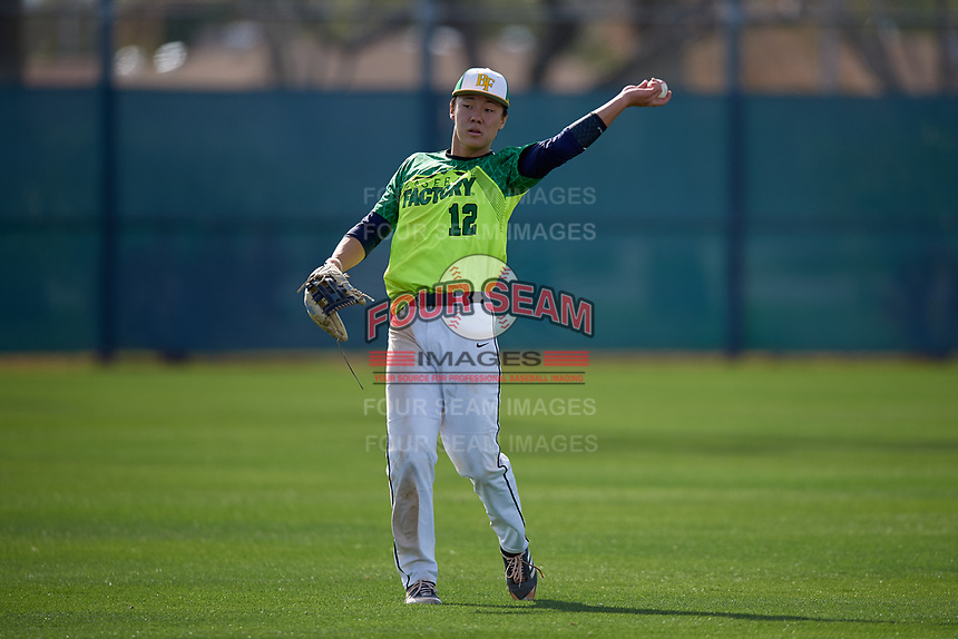 Eddie Park during the Under Armour All-America Pre-Season Tournament, powered by Baseball Factory, on January 19, 2019 at Fitch Park in Mesa, Arizona.  Eddie Park is an outfielder from San Jose, California who attends Valley Christian Schools-San Jose and is committed to Stanford.  (Mike Janes/Four Seam Images)