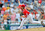 24 September 2011: Washington Nationals pitcher Drew Storen closes out a game against the Atlanta Braves at Nationals Park in Washington, DC. The Nationals defeated the Braves 4-1 to even up their 3-game series. Mandatory Credit: Ed Wolfstein Photo