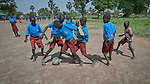 Students play football at the Loreto Primary School in Rumbek, South Sudan. While focused on educating girls from throughout the war-torn country, the school, run by the Institute for the Blessed Virgin Mary--the Loreto Sisters--of Ireland, also educates children from nearby communities.