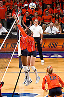 SAN ANTONIO, TX - OCTOBER 11, 2007: The Texas State University Bobcats vs. The University of Texas at San Antonio Roadrunners Volleyball at the UTSA Convocation Center. (Photo by Jeff Huehn)