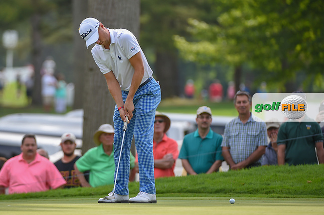 Justin Thomas (USA) sinks his par putt on 14 during 2nd round of the World Golf Championships - Bridgestone Invitational, at the Firestone Country Club, Akron, Ohio. 8/3/2018.<br /> Picture: Golffile | Ken Murray<br /> <br /> <br /> All photo usage must carry mandatory copyright credit (© Golffile | Ken Murray)