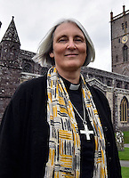 Pictured: Canon Joanna Penberthy at St Davids Cathedral in Pembrokeshire, Wales, UK. Thursday 03 November 2016<br /> Re: The Church in Wales has elected its first woman bishop.<br /> Canon Joanna Penberthy said she is &quot;immensely humbled&quot; to become the 129th Bishop of St Davids in Pembrokeshire.<br /> An electoral college of 47 people from across Wales spent two days locked in St Davids Cathedral before coming to their decision.<br /> Canon Penberthy, 56, who was appointed the cathedral's first woman canon in 2007, will take over the role from the retiring Wyn Evans.<br /> The decision to allow women bishops was made following a landmark vote in September 2013.<br /> The Archbishop of Wales, Dr Barry Morgan, called it &quot;an historic moment&quot; for the church.<br /> &quot;What is really important to stress is that Joanna wasn't elected because she was a woman but because she was deemed to be the best person to be a bishop,&quot; he said.