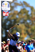 Jordan Spieth (Team USA) on the 14th tee during Sunday Singles matches at the Ryder Cup, Hazeltine National Golf Club, Chaska, Minnesota, USA.  02/10/2016<br /> Picture: Golffile | Fran Caffrey<br /> <br /> <br /> All photo usage must carry mandatory copyright credit (&copy; Golffile | Fran Caffrey)