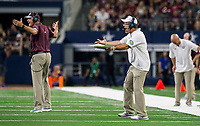 Hawgs Illustrated/Ben Goff<br /> Jimbo Fisher, Texas A&M head coach, in the 2nd quarter vs Arkansas Saturday, Sept. 29, 2018, during the Southwest Classic at AT&T Stadium in Arlington, Texas.