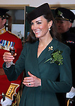 """CATHERINE, DUCHESS OF CAMBRIDGE PREGNANT .An official staement by Buckingham Palace confirmed Kate's pregnancy. However, no date of birth has been given...KATE PRESENTS SHAMROCKS TO IRISH GUARDS.The Duchess of Cambridge presented shamrocks to the 1st Battalion Irish Guards at the St Patrickís Day Parade, Mons Barracks, Aldershot..The origin of the Royal gift of Shamrock dates back to the Regiment's first St Patrick's day in 1901. The Duchess also met the Irish Guards mascot, an Irish Wolfhound called Conmael and presented him with a Shamrock.17/03/2012.Mandatory Credit Photo: ©MoD/NEWSPIX INTERNATIONAL..**ALL FEES PAYABLE TO: """"NEWSPIX INTERNATIONAL""""**..IMMEDIATE CONFIRMATION OF USAGE REQUIRED:.Newspix International, 31 Chinnery Hill, Bishop's Stortford, ENGLAND CM23 3PS.Tel:+441279 324672  ; Fax: +441279656877.Mobile:  07775681153.e-mail: info@newspixinternational.co.uk"""