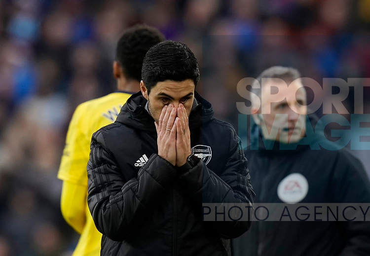 Mikel Arteta manager of Arsenal reacts on the touchline to a missed chance during the Premier League match at Turf Moor, Burnley. Picture date: 2nd February 2020. Picture credit should read: Andrew Yates/Sportimage