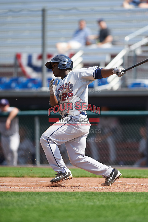 Mahoning Valley Scrappers left fielder Silento Sayles (29) hits a foul ball during the second game of a doubleheader against the Auburn Doubledays on July 2, 2017 at Falcon Park in Auburn, New York.  Mahoning Valley defeated Auburn 3-2.  (Mike Janes/Four Seam Images)