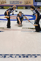 Glasgow. SCOTLAND. Scotland's, Lauren GRAY, approaching the &quot;Hog Line&quot; with her &quot;Stone&quot; during the  Le Gruy&egrave;re European Curling Championships. round robin match between Scotland vs Sweden at the  2016 Venue, Braehead  Scotland<br /> Sunday  20/11/2016<br /> <br /> [Mandatory Credit; Peter Spurrier/Intersport-images]