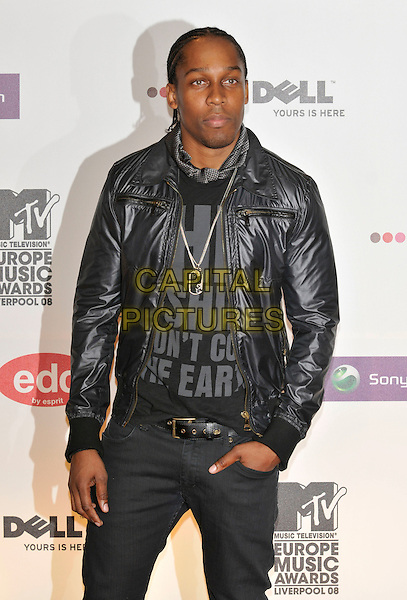 LEMAR.2008 MTV Europe Music Awards arrivals at Echo Arena, Liverpool, England..6th November 2008.EMA half length black leather jacket .CAP/PL.©Phil Loftus/Capital Pictures.