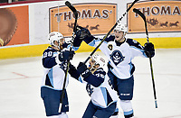 HERSHEY, PA - JANUARY 06: Milwaukee Admirals defenseman Jarred Tinordi (28), defenseman Frederic Allard (58), and left wing Tanner Jeannot (18) celebrate after Tinordi's second period goal during the Milwaukee Admirals at Hershey Bears AHL game January 6, 2019 at the Giant Center in Hershey, PA. (Photo by Randy Litzinger/Icon Sportswire)