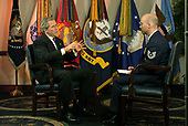 United States President George W. Bush answers a question during an interview with Air Force Technical Sergeant Sean Lehman of the Armed Forces Radio and Television Service in the Pentagon on May 10, 2004. <br /> Mandatory Credit: Jerry Morrison / DoD via CNP