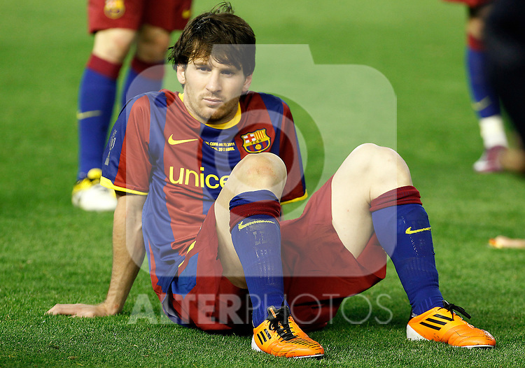 FC Barcelona's Leo Messi dejected during King's Cup 2001 Final match.April 20,2011. (ALTERPHOTOS/Acero)
