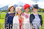 Eileen Kennedy Caragh Lake, Sandra Kearney Tralee, Mary Kelliher Killorglin, and Annette Monch Killarney  at Killarney Races Ladies day on Saturday