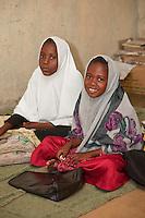 Zanzibar, Tanzania.  Young Girls in Madrassa (Koranic School).