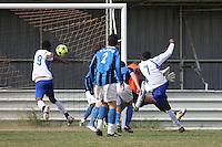 Stratford Juniors score their third goal - Inter Moore (blue/black) vs Stratford Juniors (white) - East London Sunday League Jubilee Cup Final at Wadham Lodge - 01/05/11 - MANDATORY CREDIT: Gavin Ellis/TGSPHOTO - Self billing applies where appropriate - Tel: 0845 094 6026