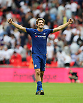 Chelsea's Marcos Alonso celebrates at the final whistle during the premier league match at the Wembley Stadium, London. Picture date 20th August 2017. Picture credit should read: David Klein/Sportimage