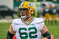 Green Bay Packers guard Lucas Patrick (62) during an Organized Team Activity on May 23, 2017 at Clarke Hinkle Field in Green Bay, Wisconsin.  (Brad Krause/Krause Sports Photography)