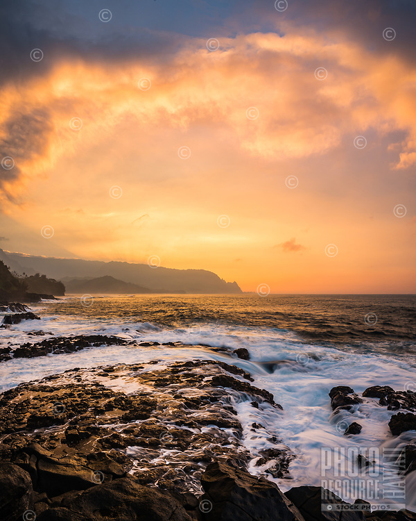 Explosive sunset over the North Shore of Kaua'i as seen from the Queen's Bath area.