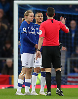 11th January 2020; Goodison Park, Liverpool, Merseyside, England; English Premier League Football, Everton versus Brighton and Hove Albion; Richarlison  and Tom Davies  of Everton protest to referee David Coote after he denied their penalty appeal - Strictly Editorial Use Only. No use with unauthorized audio, video, data, fixture lists, club/league logos or 'live' services. Online in-match use limited to 120 images, no video emulation. No use in betting, games or single club/league/player publications