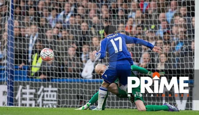 Pedro of Chelsea beats Goalkeeper Wilfredo Caballero of Man City but not the goal during the FA Cup 5th round match between Chelsea and Manchester City at Stamford Bridge, London, England on 21 February 2016. Photo by Andy Rowland.