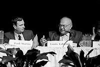 October 22, 1987 -  Paul Martin  (L) and Louis Laberge, leader FTQ speak at the News Conference after the succes of the negociation of  the CanadañUnited States Free Trade Agreement