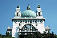Otto Wagner: Church AM Steinhof, Baumgartner Hohe 1, Vienna 1904-07. Frontal elevation from below brow of hill.